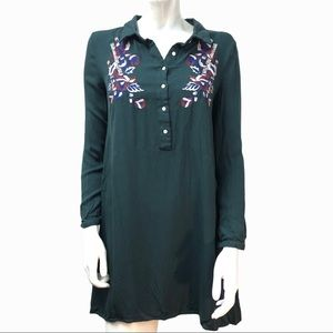 THML green embroidered shirt dress small